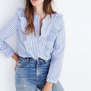 Madewell striped ruffle blouse; xs